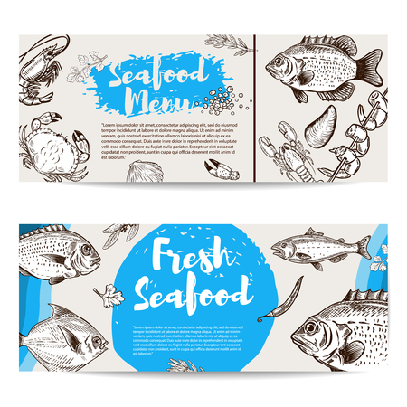 Seafood flyer template. Fish, shrimps, oyster, lobster, crab. Design elements for poster, banner, , flyer. Vector illustration