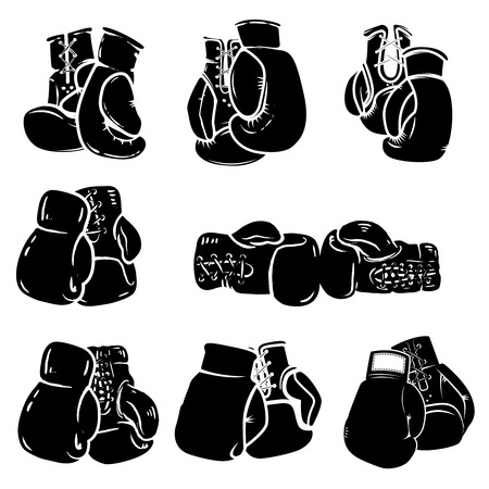 Set of boxing glove isolated on white background. Design element for poster, emblem, sign, badge. Vector illustration