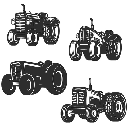 Set of retro tractor icons. Design elements for logo, label, emblem, sign. Vector illustration