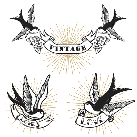Set of retro style tattoo with swallow bird. Design elements for logo, label, emblem, sign, badge. Vector illustration Reklamní fotografie - 88311394