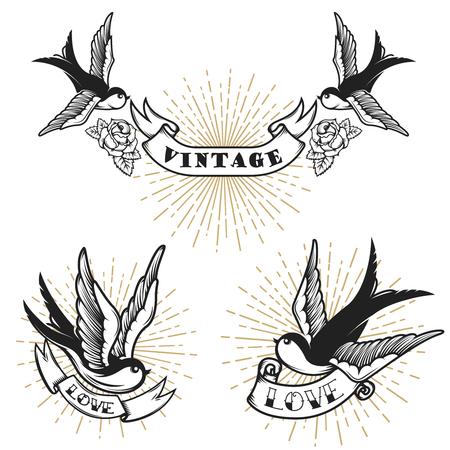 Set van retro-stijl tatoeage met slikken vogel. Ontwerpelementen voor logo, label, embleem, teken, badge. Vector illustratie