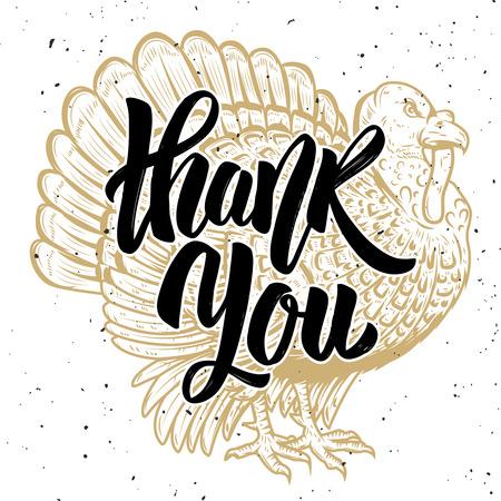 Thank you.Turkey illustration isolated on white background. Thanksgiving theme. Design element for poster, card, banner. Vector illustration Illustration