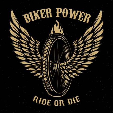 Biker power. Wheel with wings. Design element for logo, label, emblem,sign, badge,, t-shirt, poster. Vector illustration