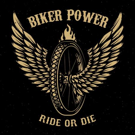 Biker power. Wheel with wings. Design element for logo, label, emblem,sign, badge,, t-shirt, poster. Vector illustration Illustration