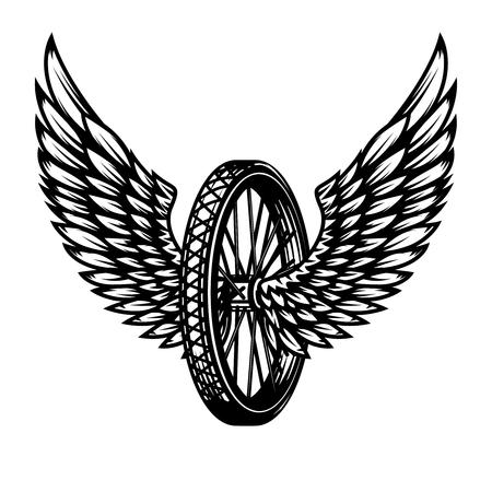 Wiel met vleugels. Ontwerpelement voor logo, label, embleem, teken, badge ,, t-shirt, poster. Vector illustratie
