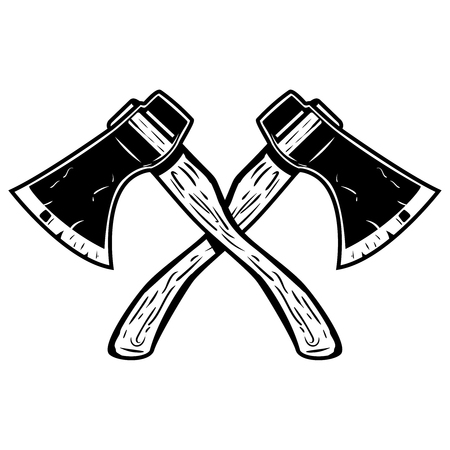 Crossed axes isolated on white background. Design element for icon,label,emblem,sign, poster. Vector illustration