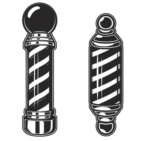 Barber shop pole illustrations on white background. Design element for poster, emblem, sign, badge. Vector illustration Banco de Imagens - 88683384
