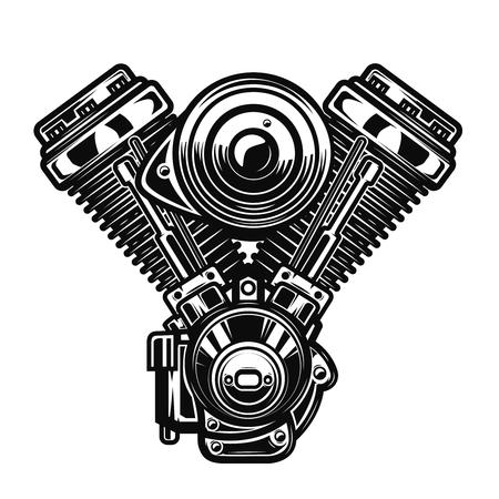 白い背景のオートバイ エンジンのイラストです。ポスター、紋章、記号、バッジのデザイン要素です。ベクトル図  イラスト・ベクター素材