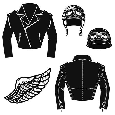 Biker jacket, motorcycle helmet, wings. Design elements for emblem, sign, badge. Vector illustration
