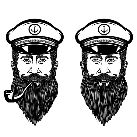 Illustration of the sea captain with smoking pipe. Design element for poster, emblem, sign, t shirt. Vector illustration Illustration
