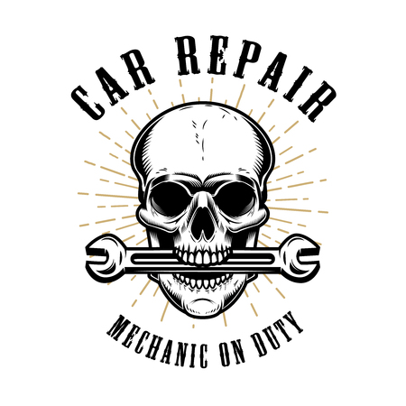 Car repair. Human skull with wrench in mouth. Design elements for poster, emblem, sign, t shirt. Vector illustration
