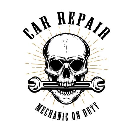 Réparation automobile. Crâne humain avec une clé dans la bouche. Éléments de design pour affiche, emblème, signe, t-shirt. Illustration vectorielle Banque d'images - 88683445