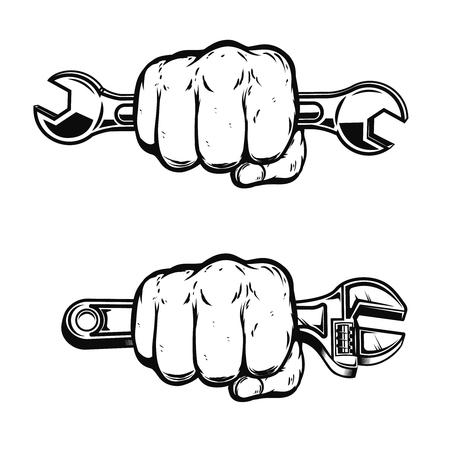 Menschliche Faust mit Schraubenschlüssel. Gestaltungselement für Poster, Emblem, Zeichen, Abzeichen. Vektor-illustration