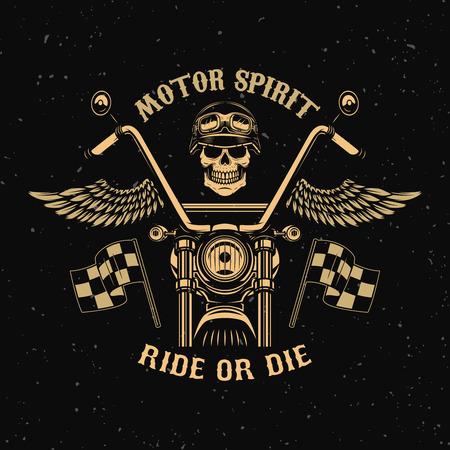 Motor spirit. Ride or die. Motorcycle with wings. Racer skull. Design element for poster, emblem, sign, badge. Vector illustration