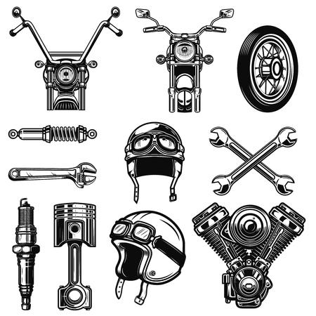 Set of vintage motorcycle design elements isolated on white background. Design element for icon , label, emblem, sign, poster, t shirt.