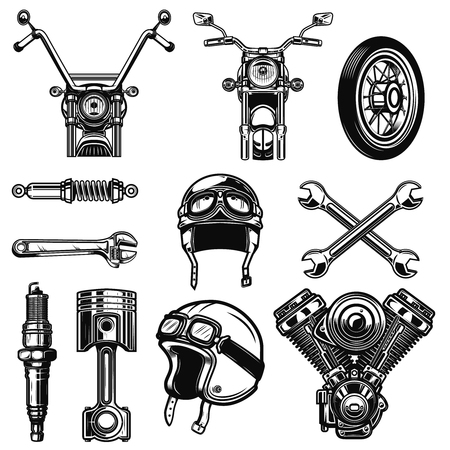 Set of vintage motorcycle design elements isolated on white background. Design element for icon , label, emblem, sign, poster, t shirt.