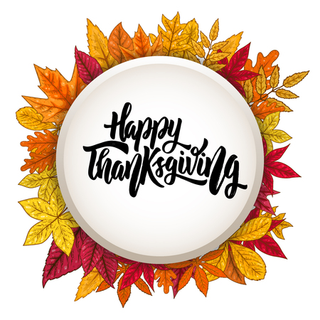 Round shape with shadow effect and autumn leaves. Happy thanksgiving. Design element for poster, greeting card. Vector illustration