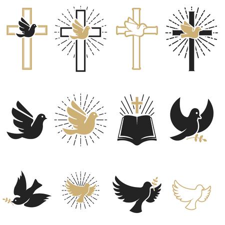 Conjunto de signos religiosos. Cruz con paloma, espíritu santo, biblia. Elementos de diseño para emblema, signo, insignia. Ilustración vectorial