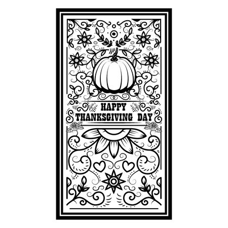Happy thanksgiving day. Banner template with pumpkin. Design elements for poster, banner, card. Vector illustration Illustration
