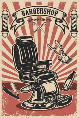 Barber shop poster template. Barber chair and tools on grunge background. Design element for emblem, sign, poster, card, banner. Vector illustration Çizim