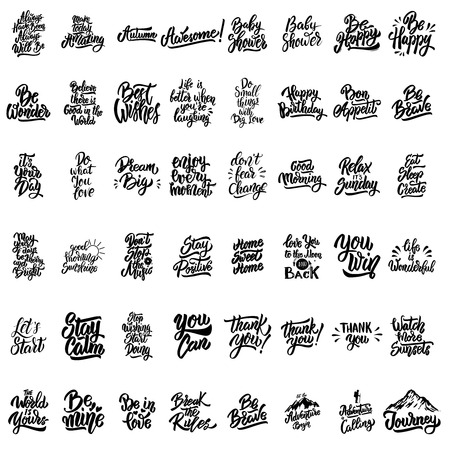 Big set of hand lettering motivational isolated quotes. Design elements for poster, card,banner. Vector illustration Vector Illustration
