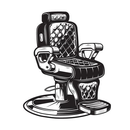 흰색 배경에 이발 의자 그림입니다. 포스터, 엠 블 럼, 기호, 배지 디자인 요소입니다. 벡터 일러스트 레이 션