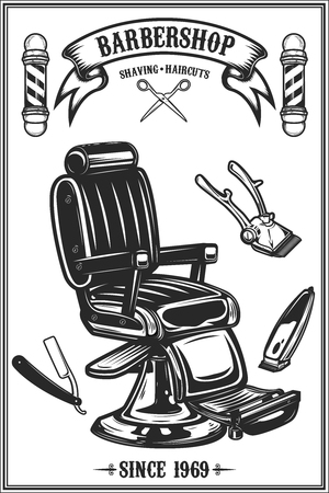 Barber shop poster template. Barber chair and tools on grunge background. Design element for emblem, sign, poster, card, banner. Vector illustration  イラスト・ベクター素材