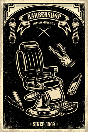 Barber shop poster template. Barber chair and tools on grunge background. Design element for emblem, sign, poster, card, banner. Vector illustration Stock Illustratie