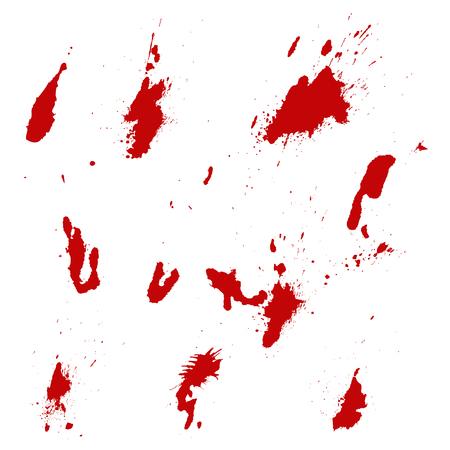 Set of blood splashes isolated on white background. Vector illustration