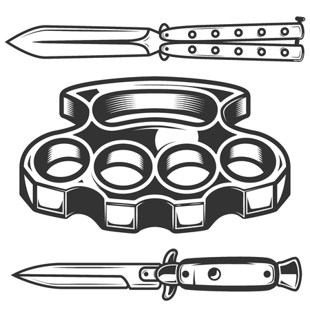 Brass knuckles, knives isolated on white background. Design element for poster, emblem, sign. Vector illustration