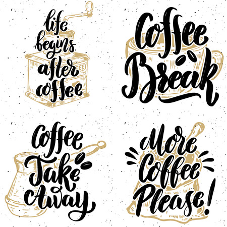 Coffee take away. More coffee please. Hand drawn lettering quotes on grunge background. Vector illustration