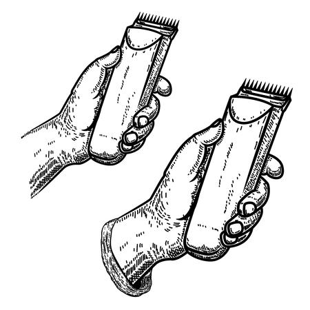 Hand with clipper.Design element for barber shop emblem, sign, poster, card,banner. Vector illustration Illustration