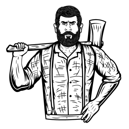 Lumberjack with axe on white background. Design element for poster, emblem, sign, banner, card. Vector illustration