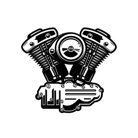 bobber: Motorcycle engine illustration on white background. Design element for poster, emblem, sign, badge. Vector illustration