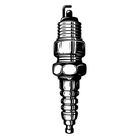 Spark plug illustration isolated on white background. Design element for logo, label, emblem, sign, poster. Vector illustration Illustration
