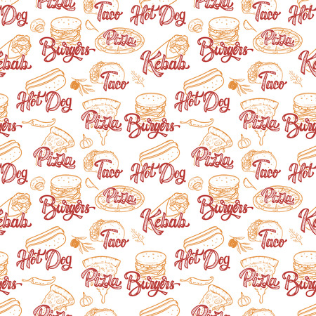 Street food seamless pattern. Kebab, taco, burger, hot dog. Vector illustration Illustration