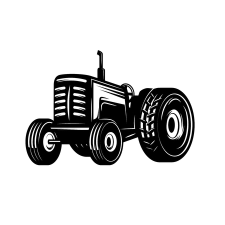 Tractor icon isolated on white background. Design element for logo, label, emblem, sign. Vector illustration