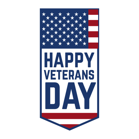 Happy veterans day emblem template isolated on white background. Design element for label, emblem, sign, poster. Vector illustration Vettoriali