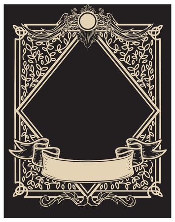 Vintage frame in golden style on dark background. Vector design element Illustration