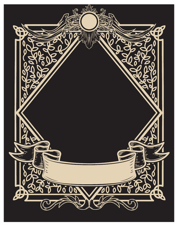 Vintage frame in golden style on dark background. Vector design element Çizim