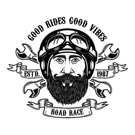 Bearded rider. Good rides good vibes. Bearded man head in motorcycle helmet. Design element for emblem, sign, poster, t shirt. Vector illustration Illusztráció