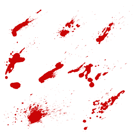 Set of blood splashes isolated on white background. Vector design element