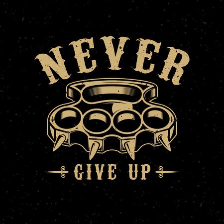 Never give up. Brass knuckles illustration on dark background. Design element for poster, emblem, sign, t shirt. Vector illustration  イラスト・ベクター素材