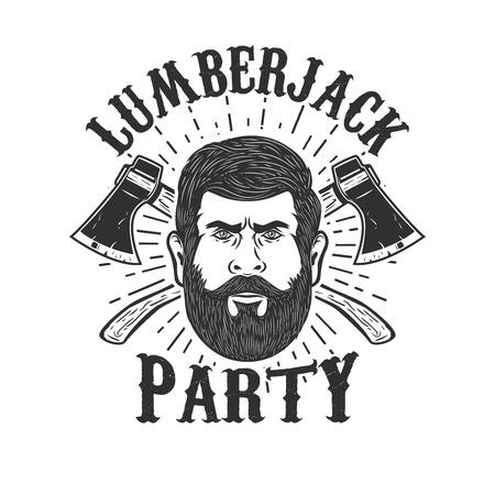 Holzfäller-Party. Holzfällerkopf auf Hintergrund mit zwei gekreuzten Äxten. Gestaltungselement für Logo, Label, Emblem, Zeichen, Abzeichen. Vektor-Illustration Standard-Bild - 89718676