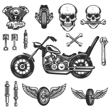 Set of vintage motorcycle design elements on white background. wheel, racer helmet, spark plug. Design elements for logo, label, emblem, sign, badge. Vector illustration