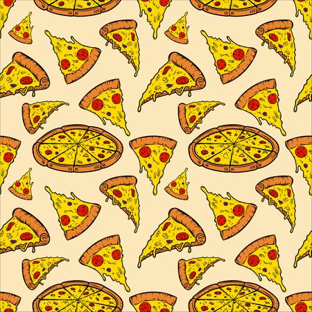 Seamless pattern with pizza. Vector illustration 일러스트
