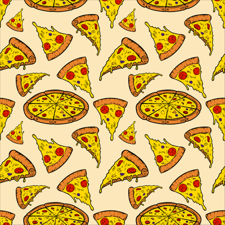 Seamless pattern with pizza. Vector illustration Vettoriali