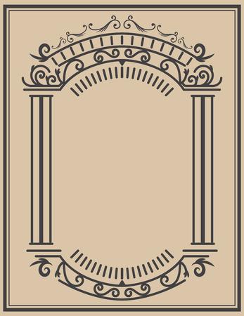 Cadre vintage sur fond clair. Élément de design vectoriel Banque d'images - 89718695