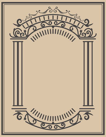 Vintage frame  on light background. Vector design element Illusztráció