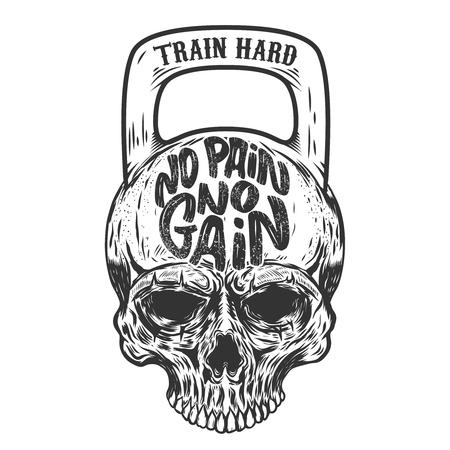 고통이 없으면 얻는 것도 없다. 열심히 훈련하십시오. 무게의 형태로 두개골. 벡터 디자인 요소